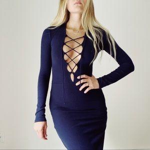 REFORMATION Edison navy blue lace up dress